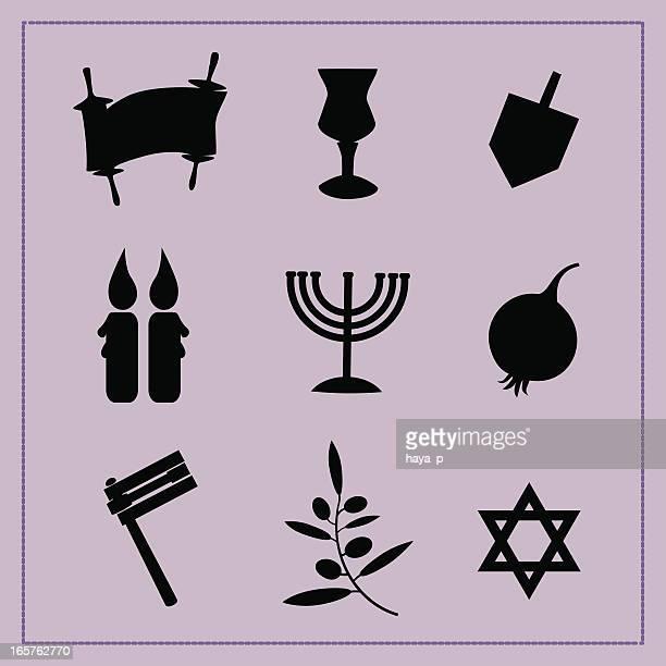 silhouettes of religious symbols - dreidel stock illustrations, clip art, cartoons, & icons