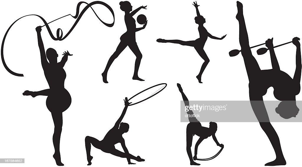 Silhouettes of rhythmic gymnastics