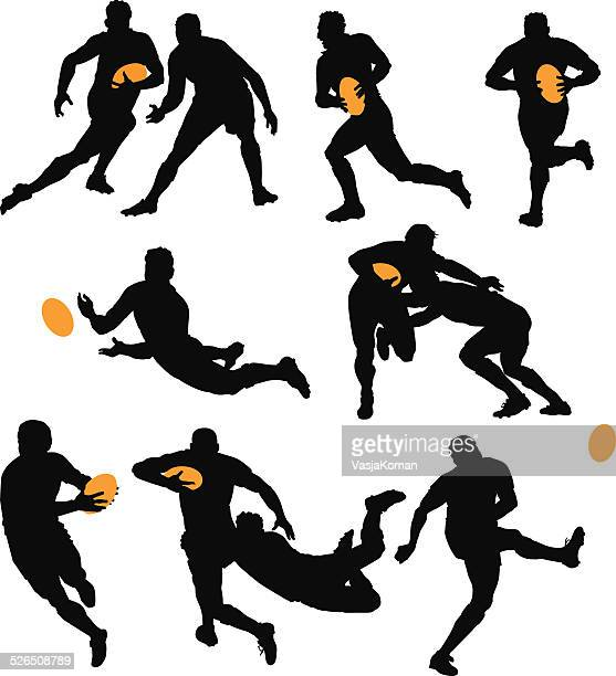 silhouettes of rugby players playing the game - team sport stock illustrations