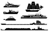 Silhouettes of ships and boats in vector