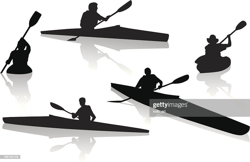 Silhouettes of single kayakers kayaking