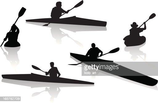 Kayak Silhouettes Vector Art