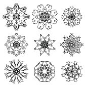 Silhouettes of Snowflakes