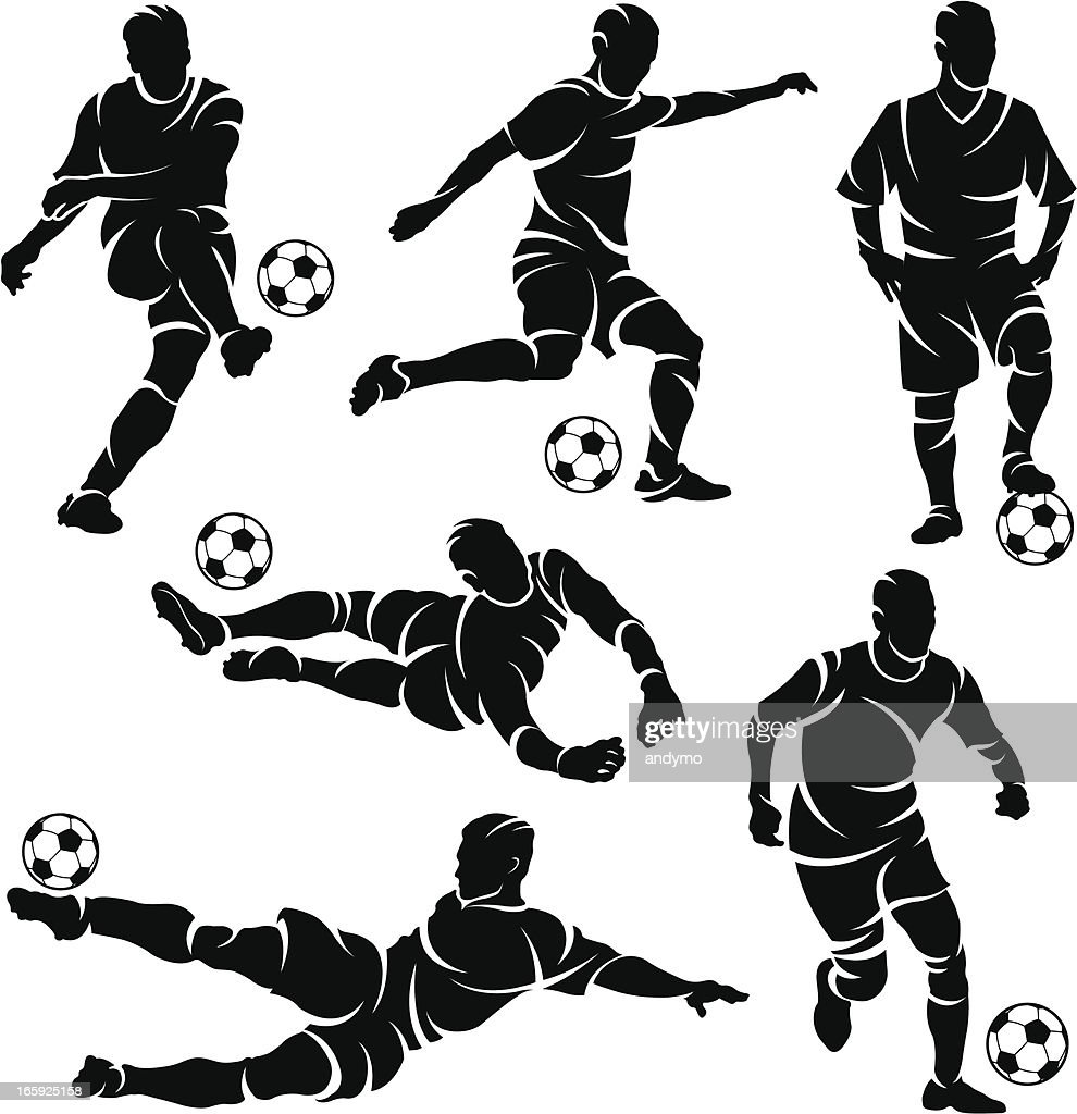 Silhouettes of soccer / football players