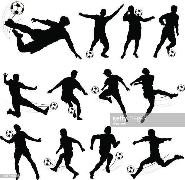 ilustrações, clipart, desenhos animados e ícones de silhuetas de jogadores de futebol - sporting term