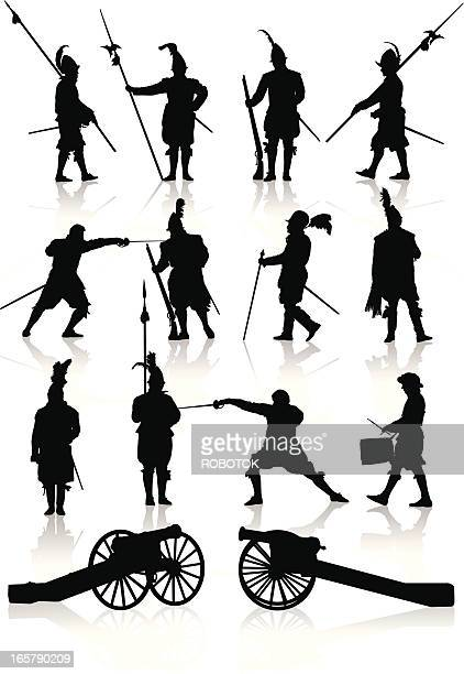 silhouettes of soldiers and cannons of the renaissance era - musketeer stock illustrations, clip art, cartoons, & icons