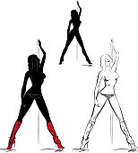 Silhouettes of striptease girl