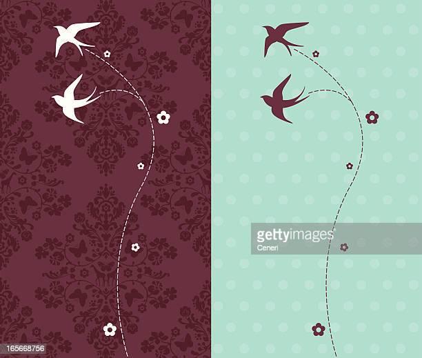 illustrations, cliparts, dessins animés et icônes de silhouettes d'hirondelles volant sur fond damassé - hirondelle