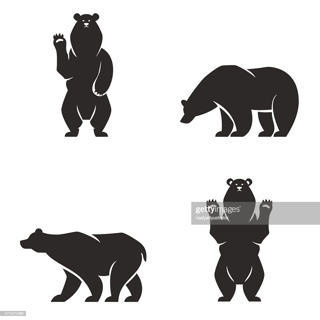silhouettes of the bears vector set