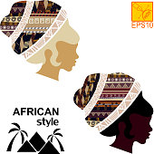 Silhouettes of the head of an  black African girls