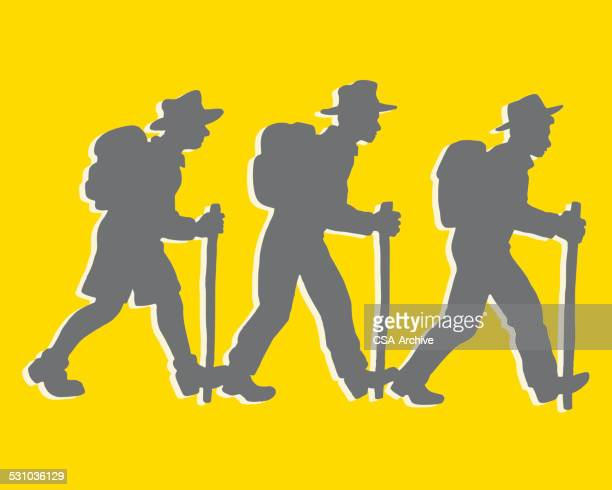 silhouettes of three people walking - three people stock illustrations
