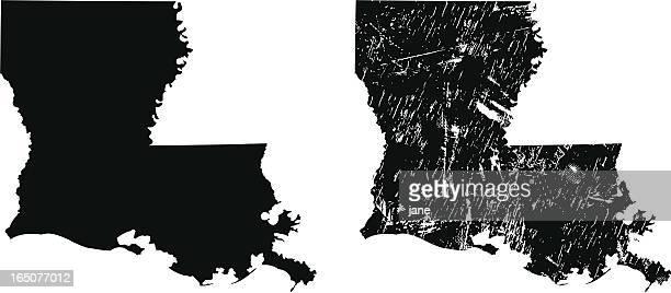 silhouettes of two louisiana maps - louisiana stock illustrations, clip art, cartoons, & icons