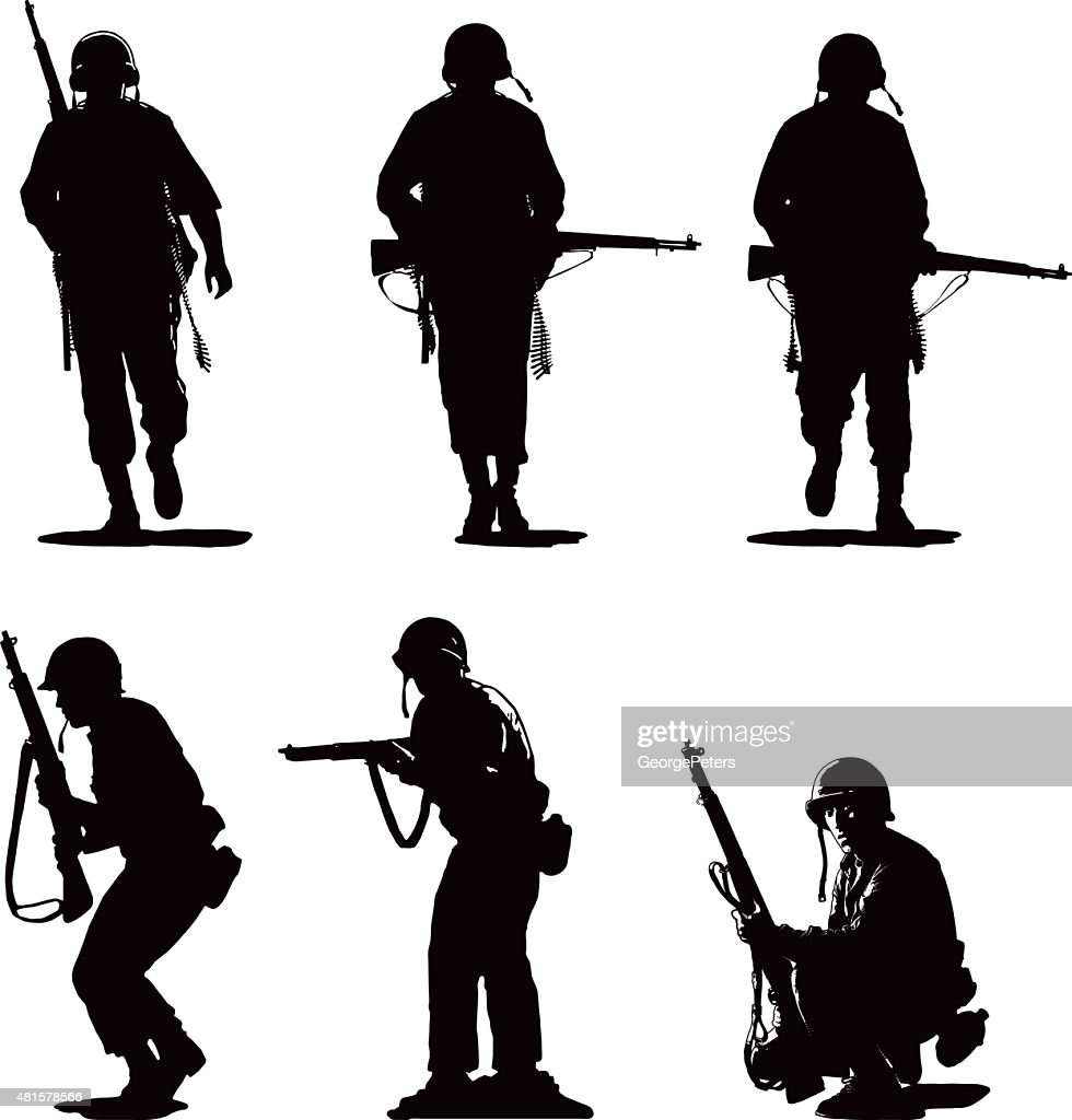 Silhouettes of USA Army Combat Soldiers