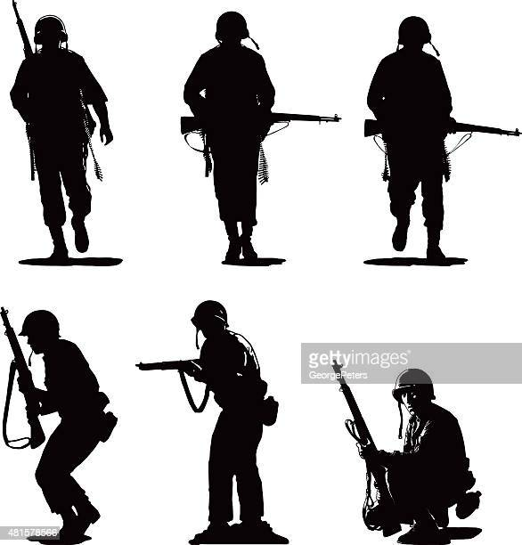 silhouettes of usa army combat soldiers - army soldier stock illustrations