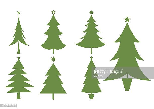silhouettes of various christmas trees icons - pine wood material stock illustrations, clip art, cartoons, & icons