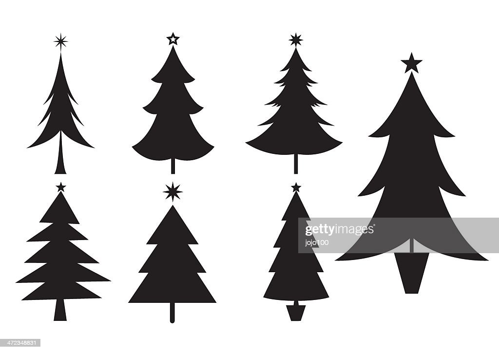 Christmas Trees Silhouette.Silhouettes Of Various Christmas Trees Icons High Res Vector