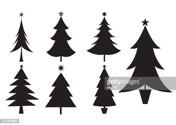 silhouettes of various christmas trees icons - christmas tree stock illustrations