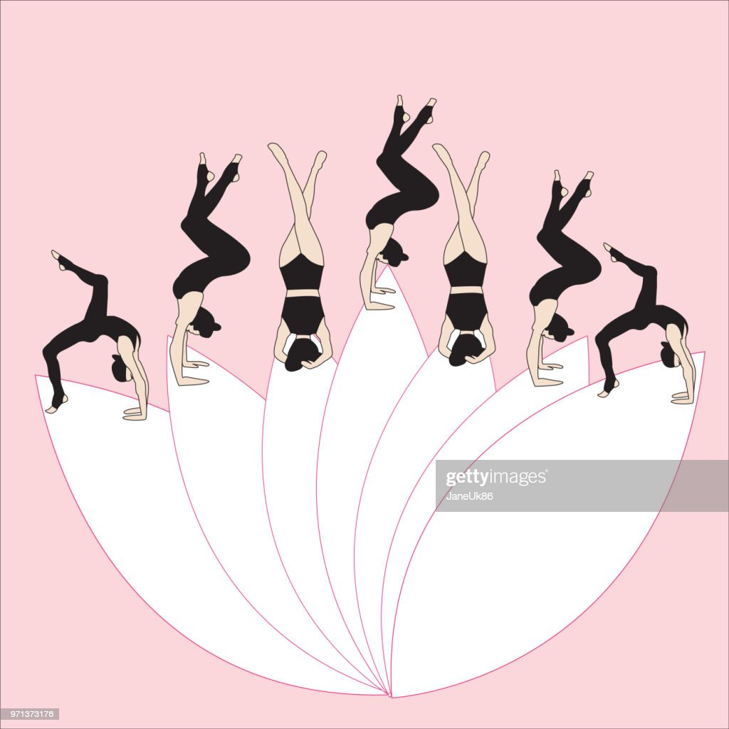 Silhouettes of woman doing yoga exercises. Icons of flexible girl stretching and relaxing her body in different yoga poses. Color shapes of woman isolated on white background lotus