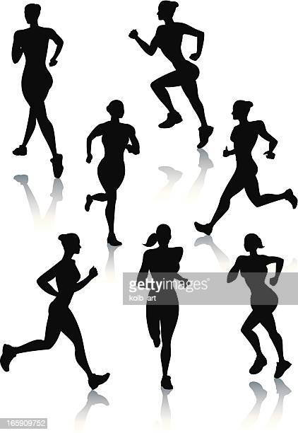 silhouettes of women jogging - women's track stock illustrations, clip art, cartoons, & icons