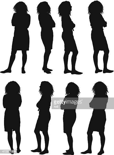 シルエットの女性がポーズを取る腕を組む - ショートヘア点のイラスト素材/クリップアート素材/マンガ素材/アイコン素材