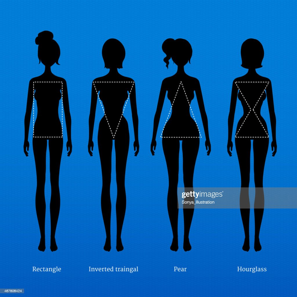 Silhouettes of women with dotted line showing figure shape