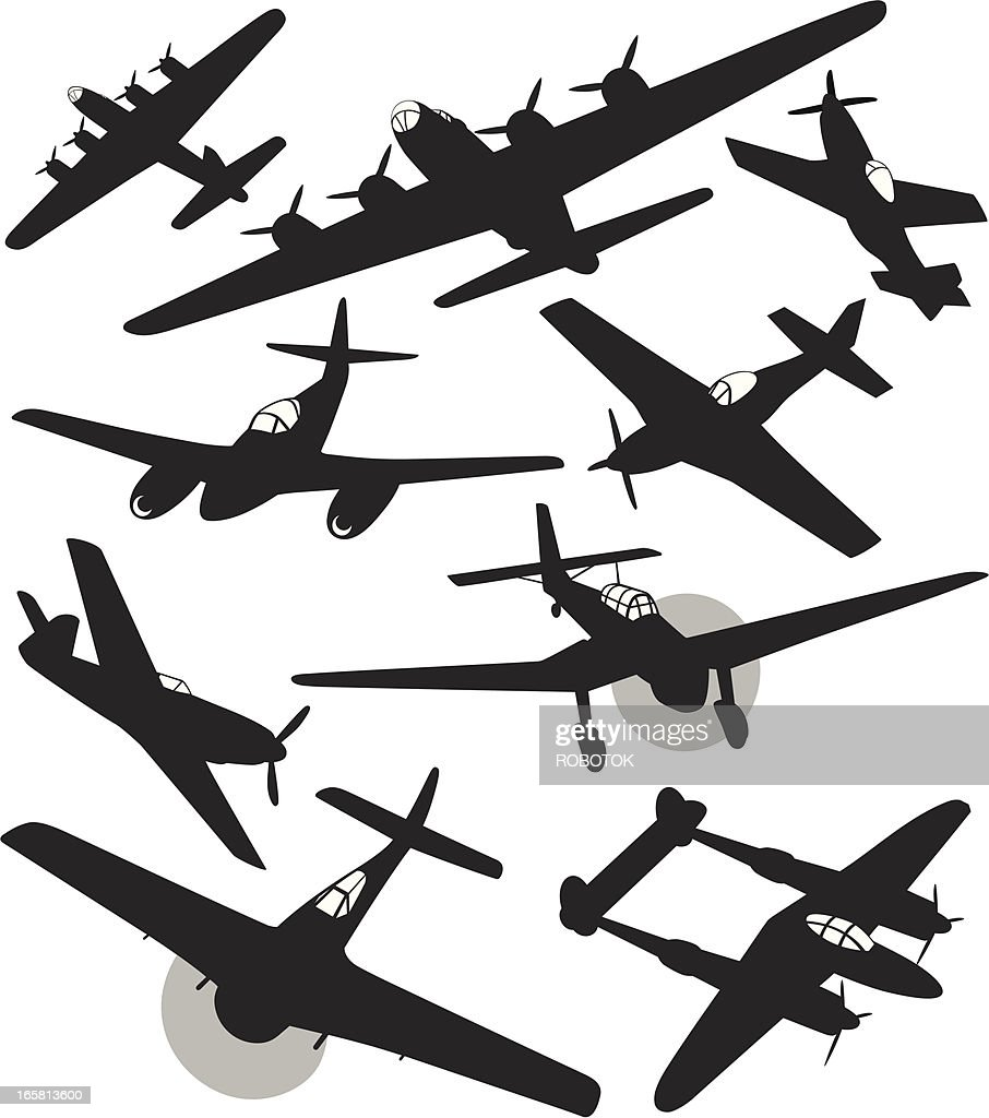 Silhouettes of World War 2 fighters and bombers