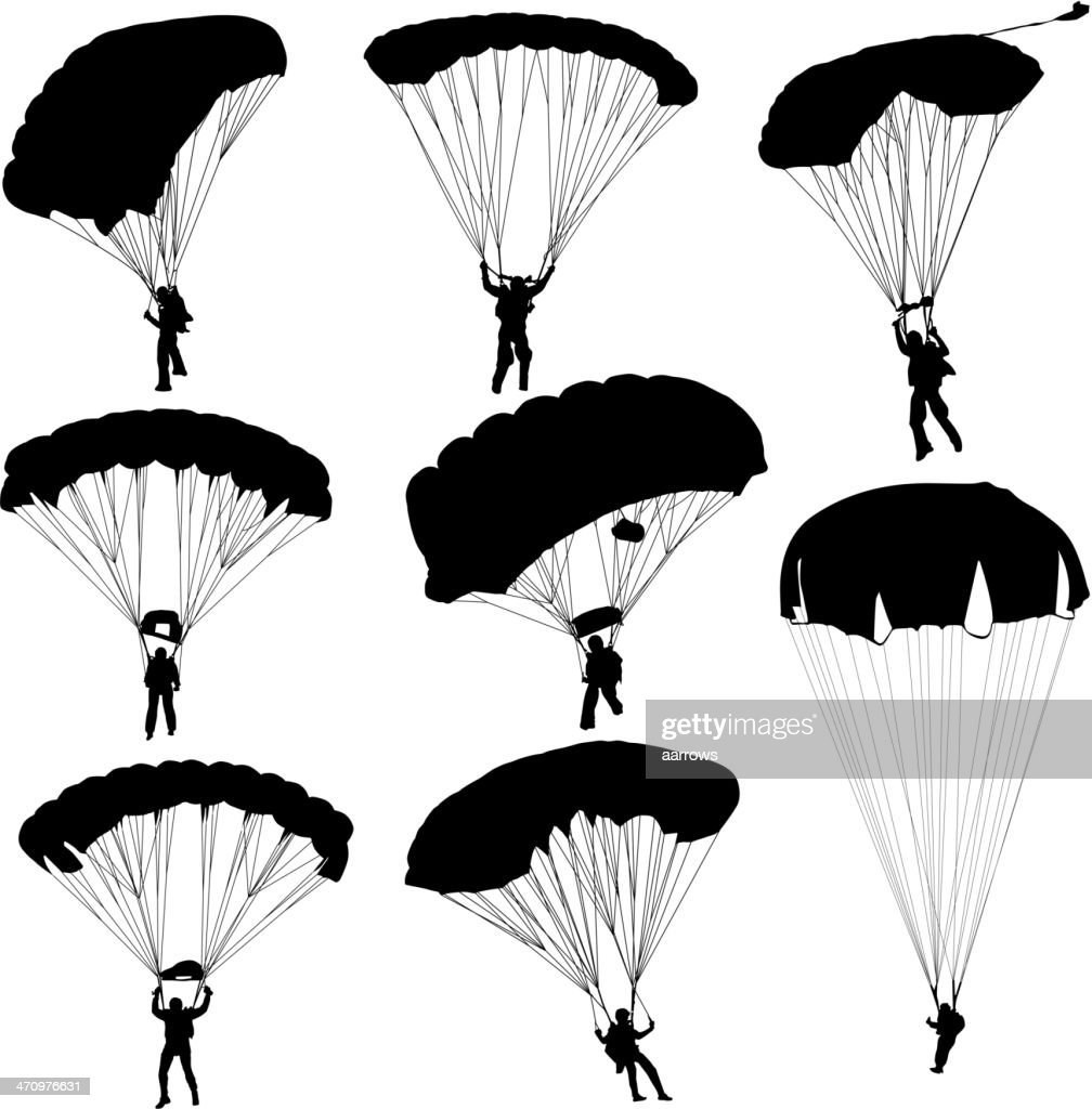 silhouettes parachuting