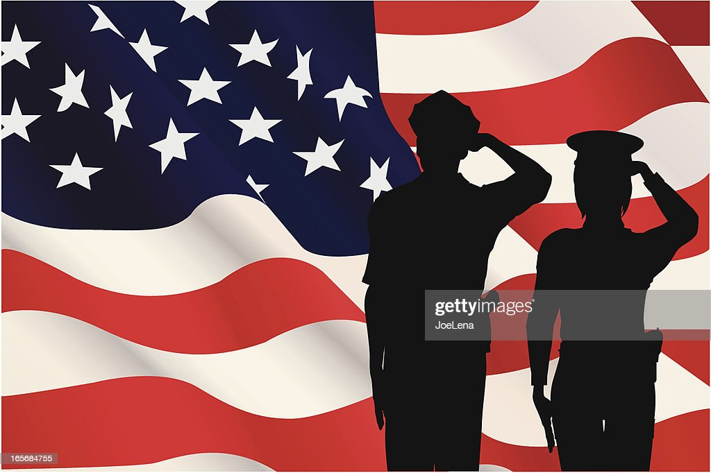 Silhouettes saluting the American flag