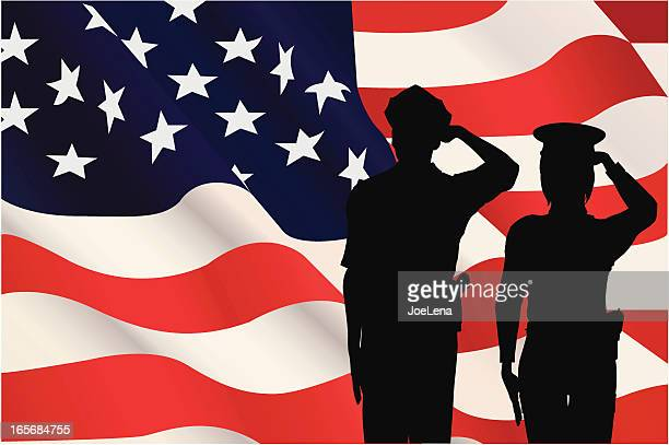 silhouettes saluting the american flag - military personnel stock illustrations, clip art, cartoons, & icons