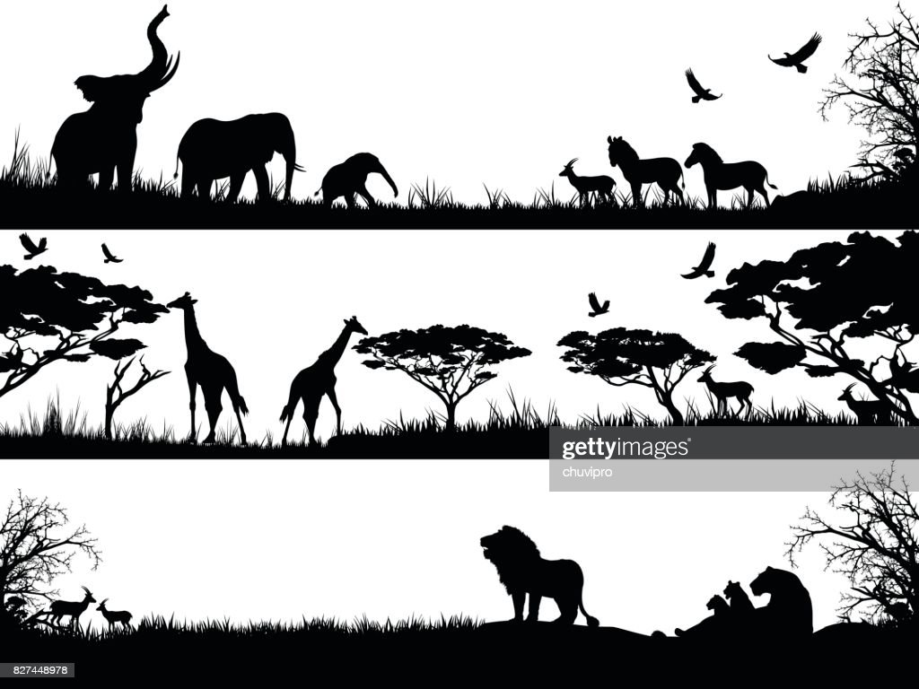 Silhouettes set of African wild animals in nature habitats