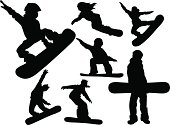 Silhouettes sports people