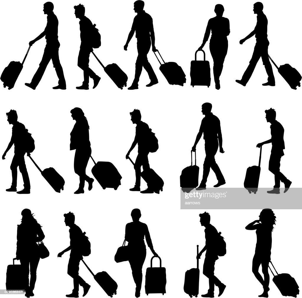 silhouettes travelers with suitcases