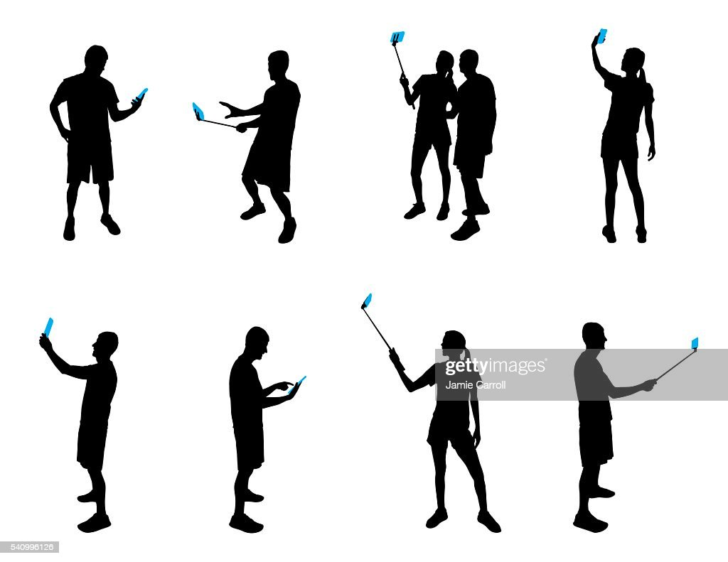 Silhouettes with mobile devices
