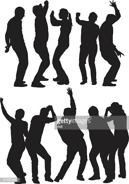silhouttes of friends dancing - female friendship stock illustrations