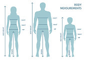 Silhouttes of man, women and boy in full length with measurement lines of body parameters.
