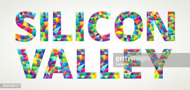 silicon valley royalty free vector art on triangular pattern - silicon valley stock illustrations