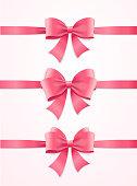 Silk Pink Ribbon and Bow Set. Vector