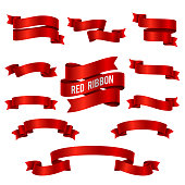 Silk red 3d ribbon banners vector set isolated
