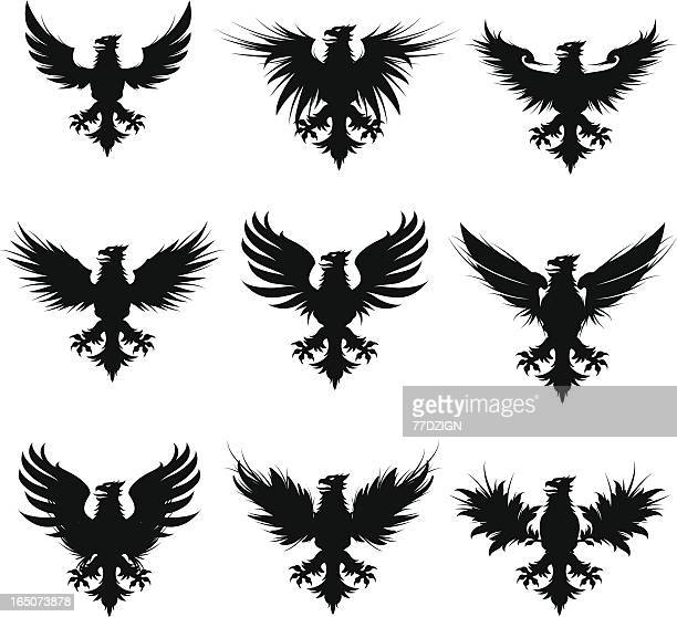 sillouette griffins - griffin stock illustrations, clip art, cartoons, & icons