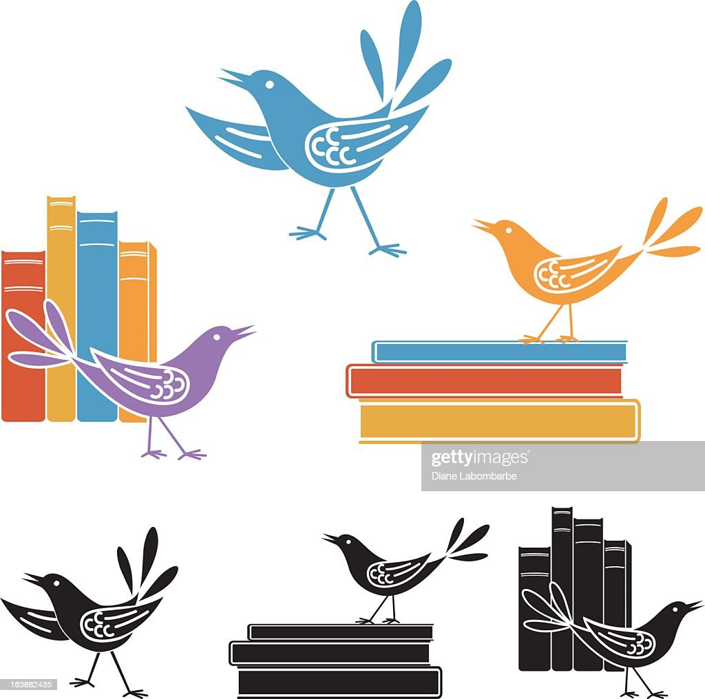 Silly Retro Birds and Books