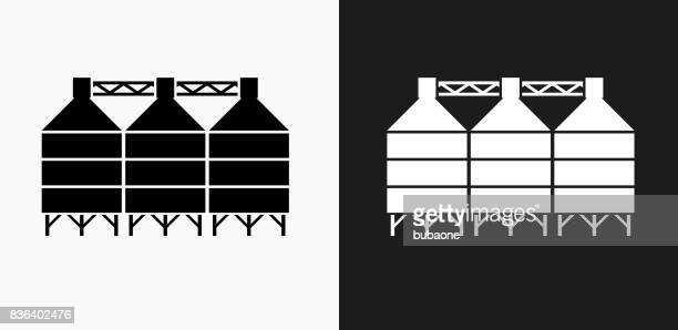 Silo Icon on Black and White Vector Backgrounds