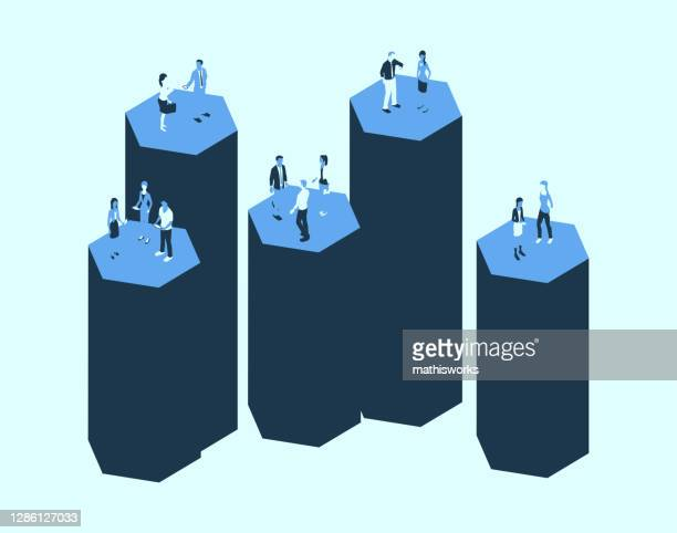 silos with people in a blue color palette - mathisworks business stock illustrations