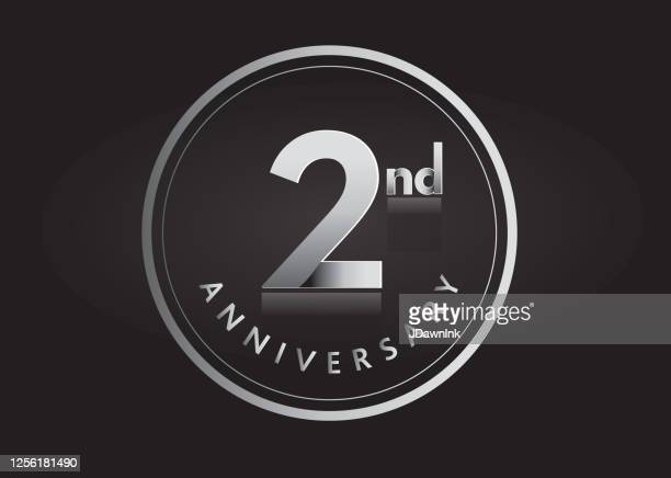 silver 2nd anniversary celebration label designs - number 2 stock illustrations
