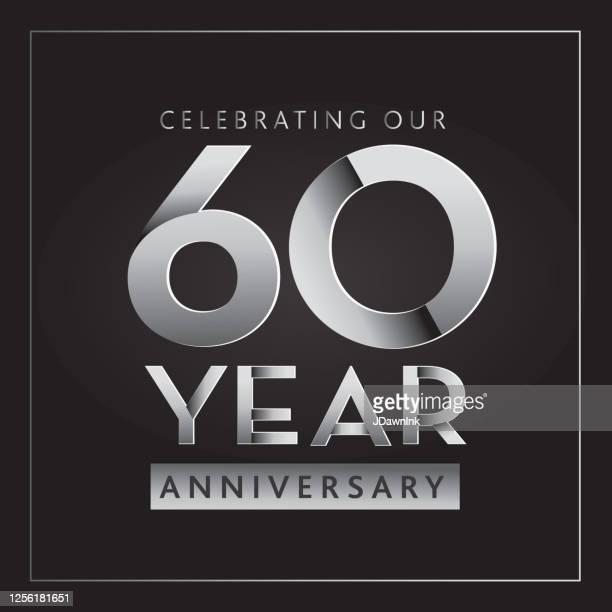 silver 60th anniversary celebration label designs - 60th anniversary stock illustrations