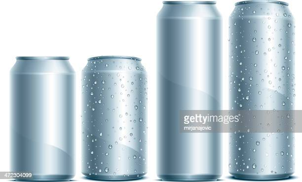 silver aluminum cans with water droplets on the sides - can stock illustrations