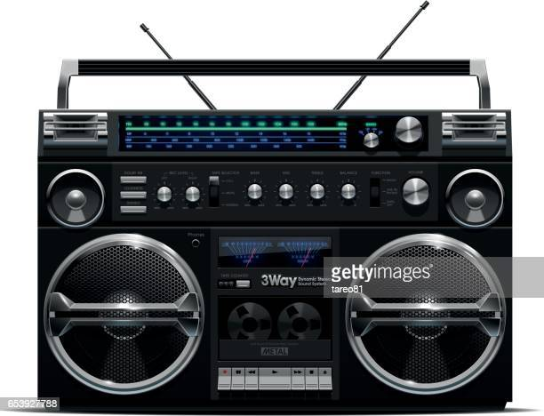 Silver and Black Boombox