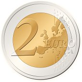A silver and gold colored two euro coin on a white backing