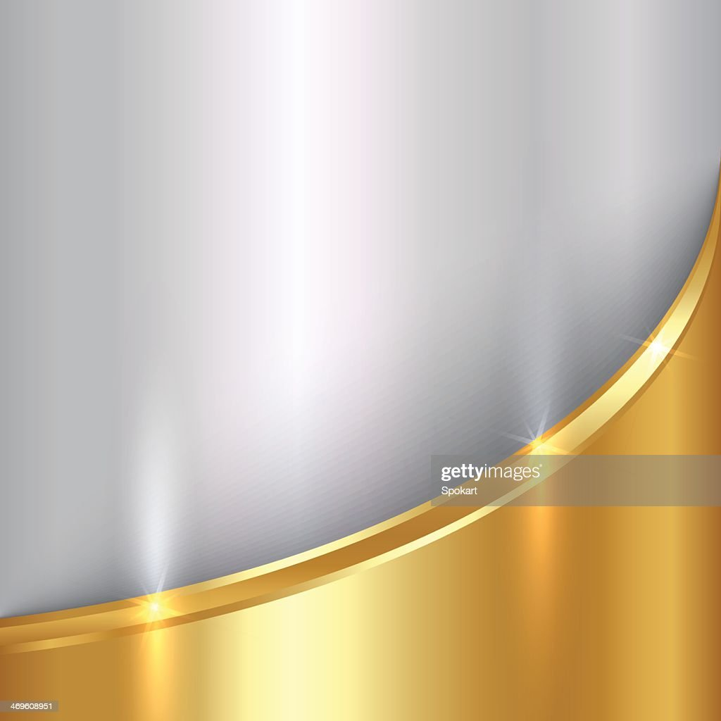 Silver and gold metal curve background
