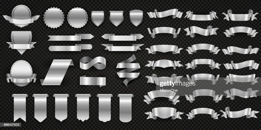 Silver and steel ribbons, metal wrapping banners vector set