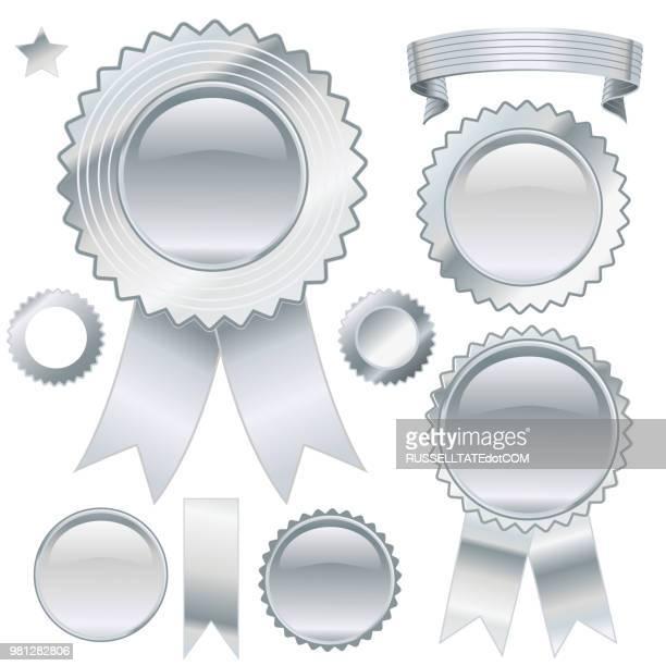 silver award - silver medal stock illustrations